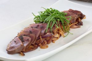 Duck breast, sauted noodles with vegetables & sesame