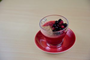 Strawberry jelly, berries & halznut praline